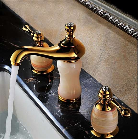 Lima Gold Natural Jade Deck Mount Bath Sink Faucet