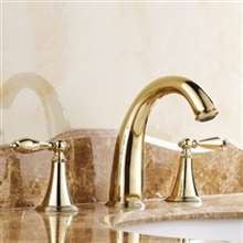 Gold Finish Widespread 3 Holes Basin Mixer Tap Double Knobs Bath Sink Faucet