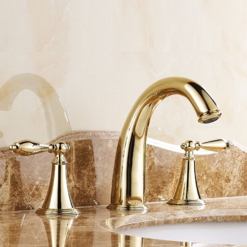 gold finish widespread 3 holes basin mixer tap double knobs bath
