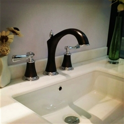 Reno Luxueux 8 Inch Chrome & Oil Rubbed Bronze Widespread Bathroom Faucet