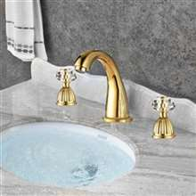 Larissa Widespread bathroom Lavatory Sink faucet Crystal handles Mixer tap Gold clour
