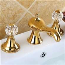Molino Bathroom widespread Lavatory Sink faucet crystal handles mixer tap Gold clour