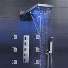 "22"" LED Color Change Thermostatic Waterfall Rain Shower Head with Massage Body Sprays and Hand Shower"