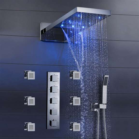 "Fontana Mugla 22"" LED Thermostatic Waterfall Rain Shower Head with Massage Body Sprays and Hand Shower"