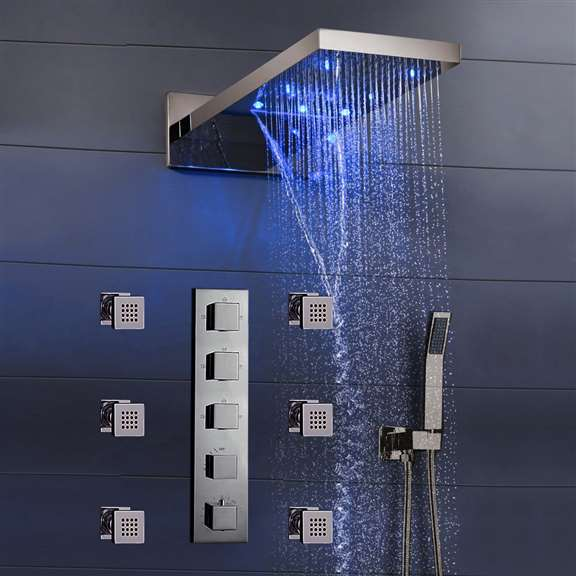 "Fontana Mugla 22"" Brushed Nickel LED Thermostatic Waterfall Rain Shower Head with Massage Body Sprays and Hand Shower"
