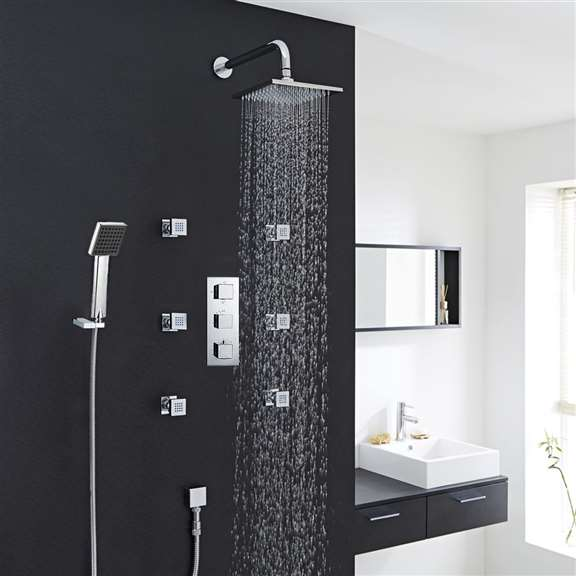 "Fontana Wall Chrome 12"" Square Rainfall Shower System Set With Shower Head Handspray"