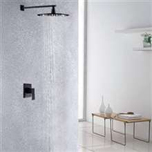 Oil Rubbed Bronze 12 Inch Bathroom Rain Shower Faucet Set With LED Color