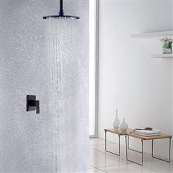 Round Oil Rubbed Bronze 12 Inch Bathroom Rain Shower Faucet Set With LED Color