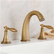 Reno Antique Brass Deck Mount Dual Handles sink Faucet