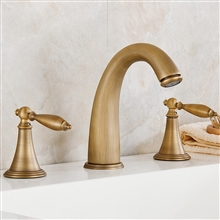 Reno Brass Antique Deck Mount Dual Handles Basin Faucet 3pcs Bathroom Lavatory Washbasin Mixer Tap