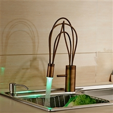 Contemporary Brass Kitchen Mixer Faucet Single Lever Swivel Spout - LED Color Faucet