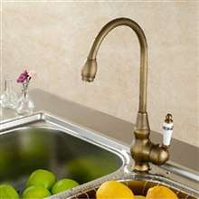 Billa Antique Brass Deck Mount Single Handle Kitchen Mixer Faucet