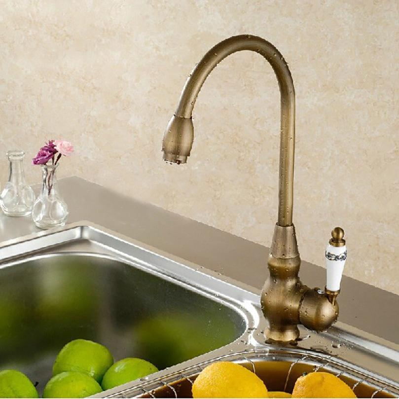 Kitchen Tap Faucet | Billa Antique Brass Ceramic Faucet Deck Mounted Single Handle