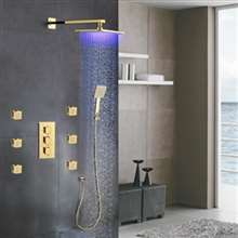 Fontana Versilia Gold Finish Color Changing Led Shower Head with Adjustable Body Jets and Mixer