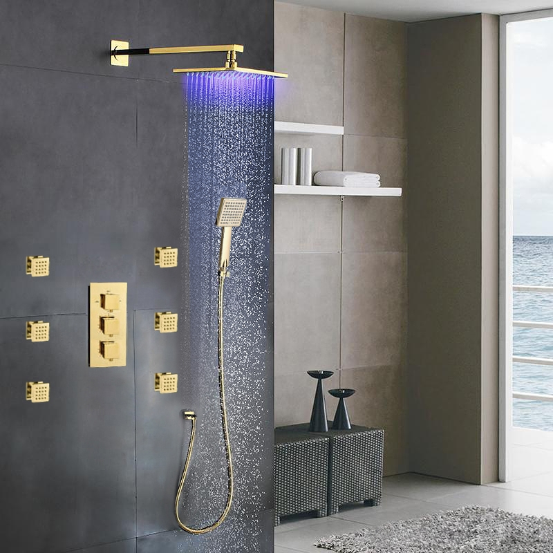 Gold Rain Shower Head. Fontana Versilia Gold Finish Color Changing Led Shower Head with Adjustable  Body Jets and Mixer