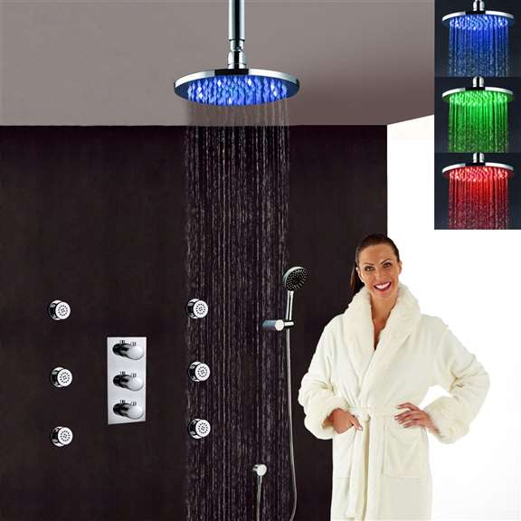 Fontana Versilia solid brass color changing LED rain shower head with solid brass mixer and adjustable body jets.