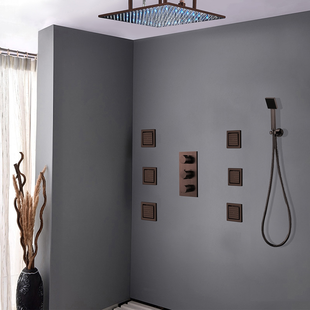 Oil Rubbed Bronze Multi Color Led Shower head with Shower Arm