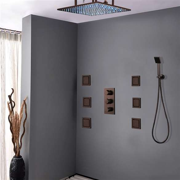 Fontana Sierra Oil Rubbed Bronze Multi Color Led Shower head with Adjustable Body Jets and Mixer (Solid Brass)