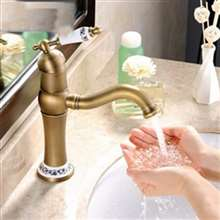 Vanity Sink Deck Mount Antique Brass Faucet Ceramic Handle