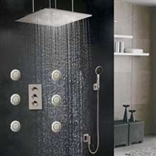 Large  LED Rain Shower Head Set With Body Massage Spray Shower Jets