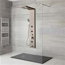 Perroli Luxury Brushed Nickle Shower Panel Set - with Rainfall & Waterfall, Wtaer Spout and Thermostatic Mixer