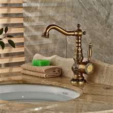 Loraine Deck Mount Antique Brass Faucet
