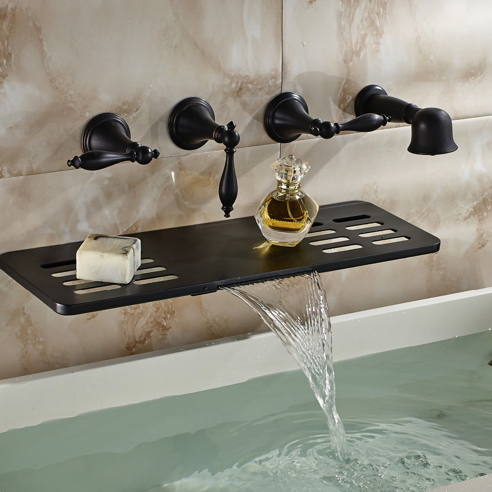 Multifunction Oil Rubbed Bronze Wall Mount Bathtub Faucet