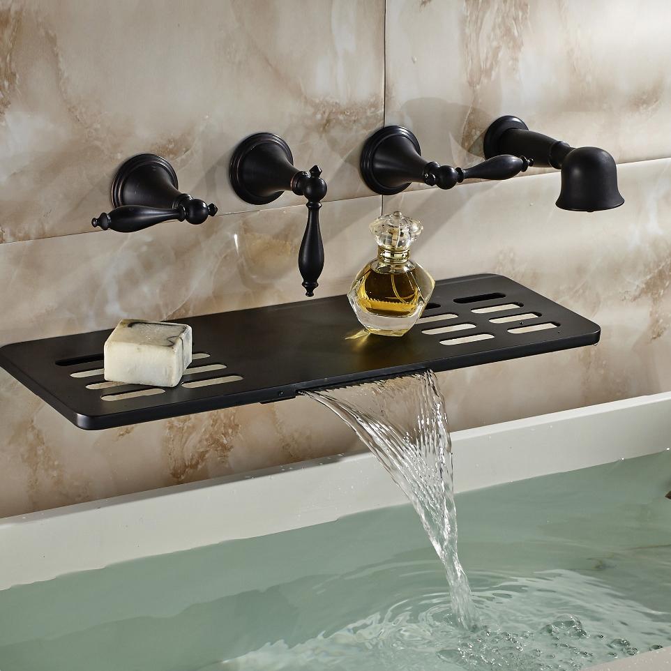 Bathtub Faucet.Latori Multifunction Oil Rubbed Bronze Wall Mount Bathtub Faucet
