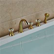 Rubin Gold Widespread 5PCS Triple Handles Bathtub Faucet