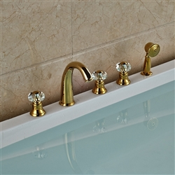 "Rubin Gold Widespread 5PCS Bathroom Tub Faucet Three Handles with Brass Hand Shower and 59"" Shower Hose"