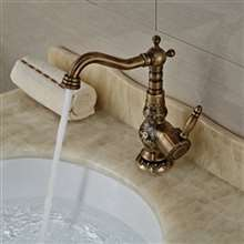 Deck Mount Antique Brass Bathroom Faucet Ceramic Handle