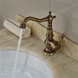 Deck Mounted Antique Brass Bathroom Faucet Ceramic Handle