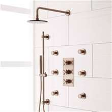 Perlude Oil Rubbed Bronze -Round Shower Head Shower System with 6 Body Shower Jets