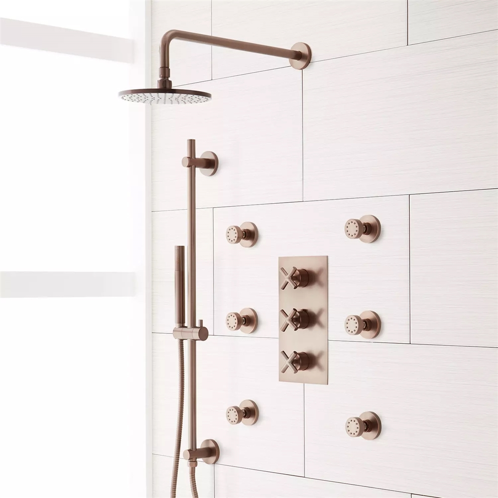 Oil Rubbed Bronze - Chrome - Brushed Round Shower Head Shower System ...