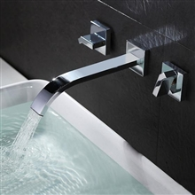 Latori Wall Mount Double Handles Chrome Sink Faucet