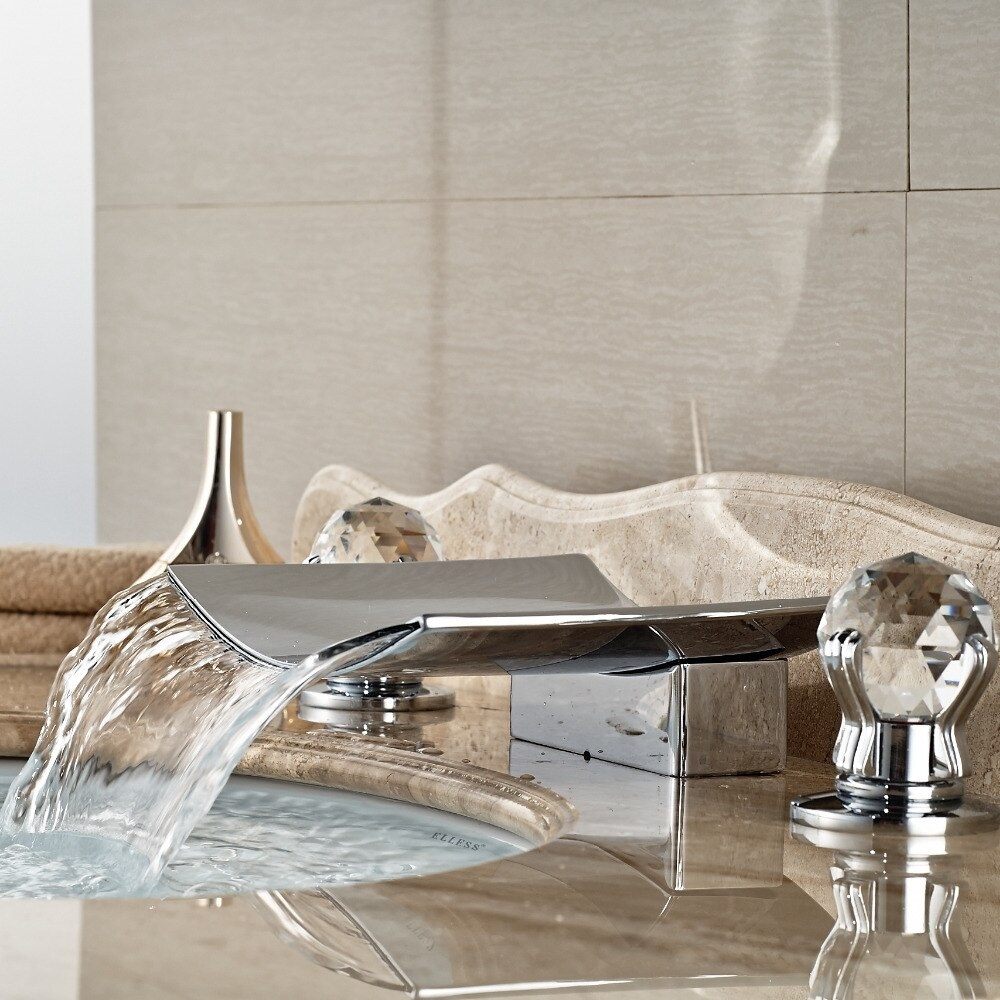 Crystal Handle Brass Body LED Bathroom Sink Faucet - Faucet for sink in bathroom