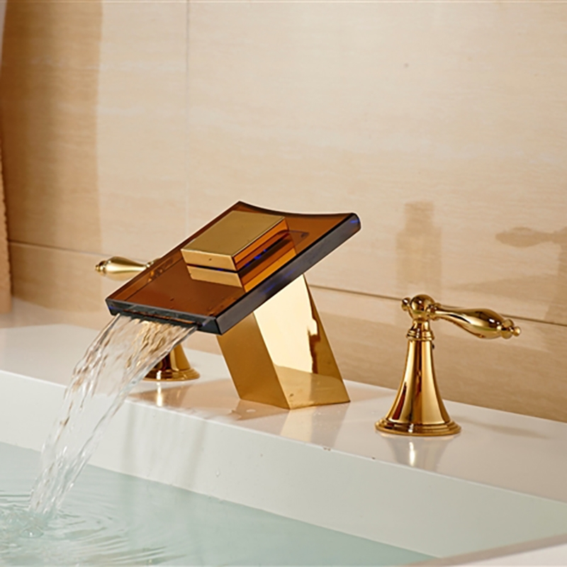 Gold Finish LED Color Changing Glass Spout Bathroom Sink Faucet - Gold colored bathroom faucets