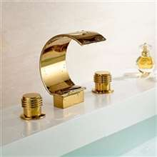 Waterfall Deck Mount Gold Bathtub faucet