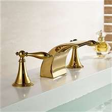 Gold Finish LED Mixer Bathroom Sink Faucet
