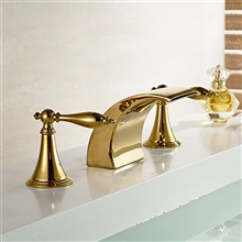 Gold Finish LED Waterfall Bathroom Sink Faucet