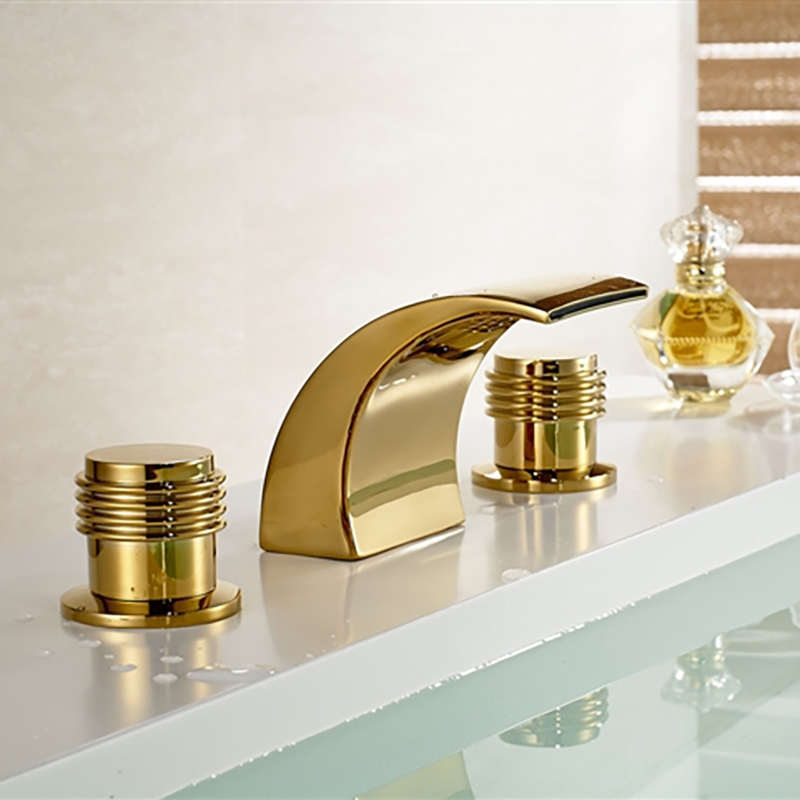 Gold Bathroom Faucet - Gold Finish Brass Body LED Bathroom Sink Faucet
