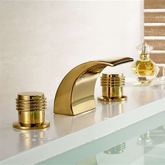Gold Finish Brass Body LED Bathroom Sink Faucet