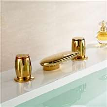 Waterfall Gold Finish Dual Round Handle Bathtub Faucet
