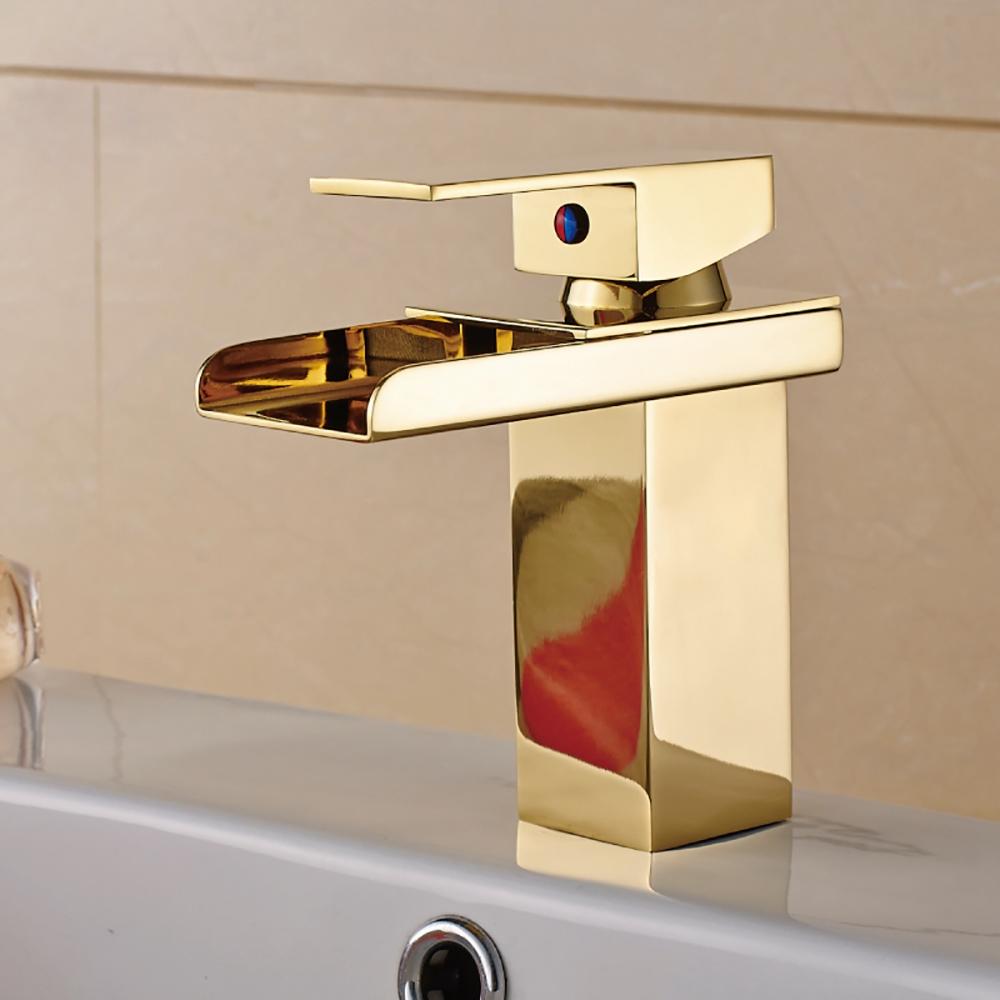 Shop Single Lever Waterfall Gold Bathroom Sink Faucet Fontanashowers