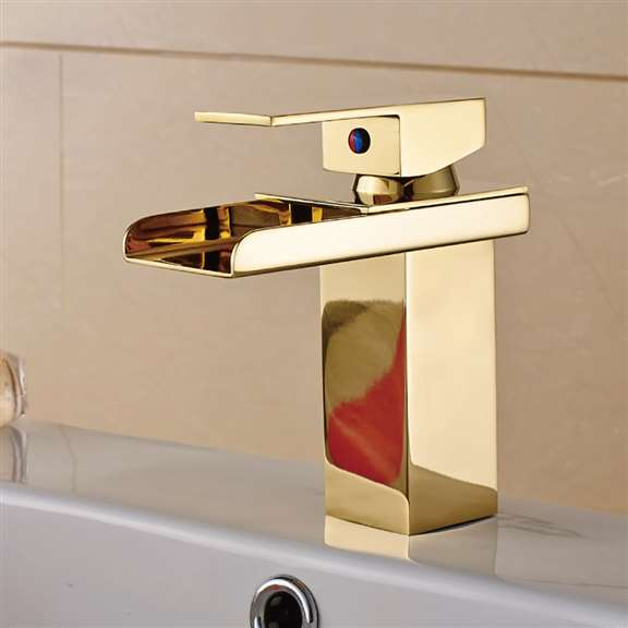 Single Lever Waterfall Gold Bathroom Sink Basin Faucet