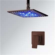 Fontana Oil Rubbed Bronze Square LED Rain Shower Head