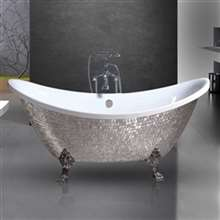 Napoli Silver Mosaic Freestanding Clawfoot Indoor Bathtub
