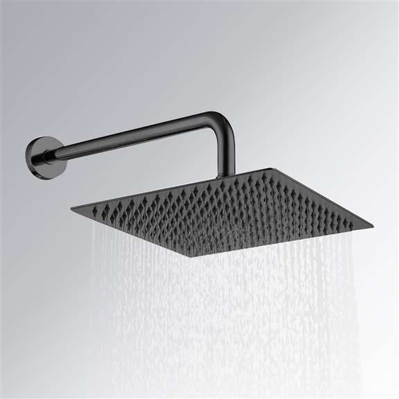 Matte Black  Thin Square Rainfall Shower Head