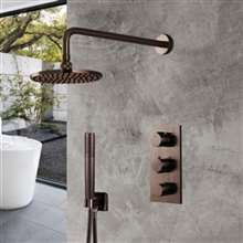 Thermostatic Light Oil Rubbed Bronze Rainfall Shower Set With Handheld Shower