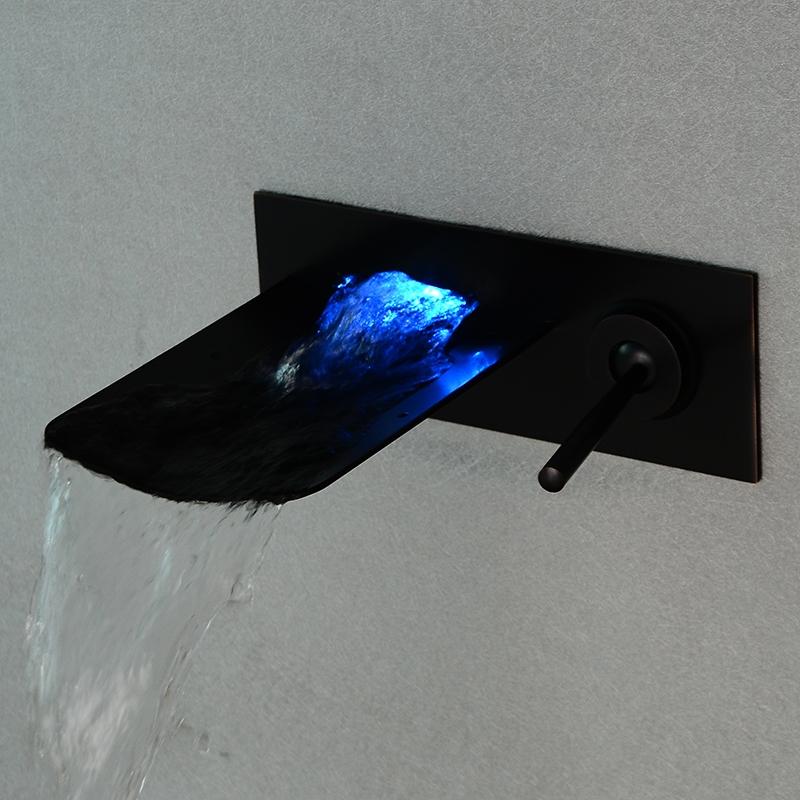 Catania Oil Rubbed Bronze LED Wall Mounted Bathtub Faucet